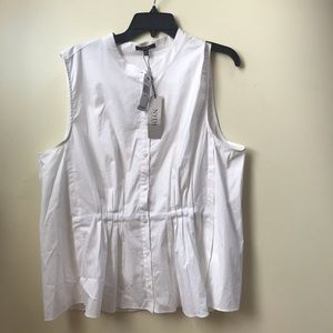 NYDJ Sleeveless NEW Pleated Cotton Buttons Top Tag